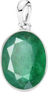 Jewelzon Certiified Emerald 10.25 Ratti Silver Pendent Sterling Silver Emerald Sterling Silver Pendant