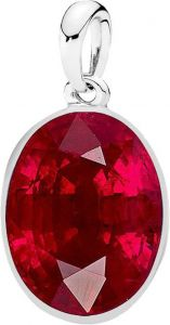 Jewelzon Certiified Ruby 10.25 Ratti Silver Pendent Sterling Silver Ruby Sterling Silver
