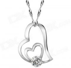 Jewelzon Sterling silver Double Heart Love Pendent For Girls Sterling Silver Rhodium Cubic Zirconia Pendant