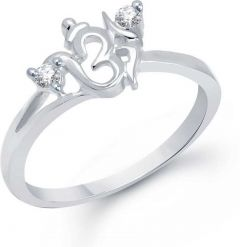 Spritual Om Swarovski Ring Sterling Silver Rhodium Plated Ring   Sterling Silver   Adjustable   Rodium Plating