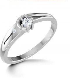 Jewelzon Sterling Silver Six Prongs Swarovski Ring Sterling Silver Rhodium Plated Ring   Rhodium Plating  Sterling Silver