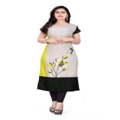 American Crepe Fabric with Digital Print Multicolored Kurti For Womens (Color-Multi-Color)