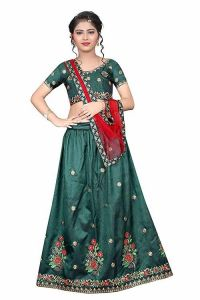 Taffeta Satin Fabric, Embroidery Work, Semi Stitched Lehenga Choli with Dupatta for Girl (Color-Green)