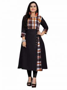 Long & Straight Checker Printed 3|4th Sleeves Cotton Dress for Girls and Women (Color-Black)