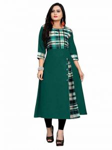 Long & Straight Checker Printed 3|4th Sleeves Cotton Dress for Girls and Women (Color-Green)