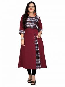 Long & Straight Checker Printed 3|4th Sleeves Cotton Kurti for Girls and Women (Color-Maroon)