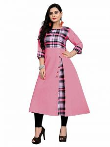 Long & Straight Checker Printed 3|4th Sleeves Cotton Long Kurti for Girls and Women (Color-Pink)