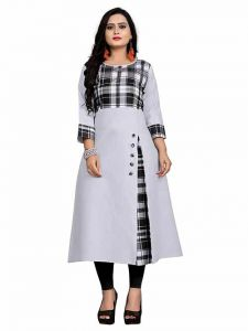 Checker Printed Long & Straight 3|4th Sleeves Cotton Kurti for Girls and Women (Color-Sky Blue)