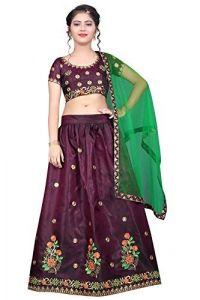 Taffeta Satin Fabric, Embroidery Work, Semi Stitched Lehenga Choli with Dupatta for Girl (Color-Purple)