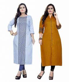 Womens Light Blue Dark Yellow Colour Cotton Fabric A-Line Printed Kurti (Combo of 2) (Color-Multi-Color)