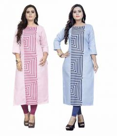 Pure Cotton Fabric A-Line Combo| Pack of 2 Kurti For Women & Girls (Color-Multi-Color)