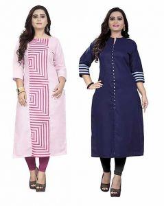 Pure Cotton Fabric A-Line Combo Kurta | Pack of 2 Kurta For Women & Girls (Color-Multi-Color)