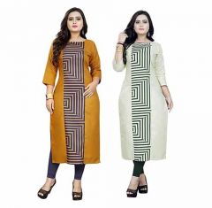 Womens Light Yellow Light Green Colour Cotton A-Line Printed Kurti (Combo of 2) (Color-Multi-Color)