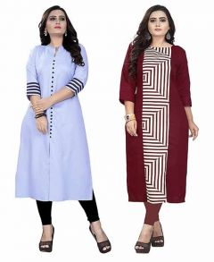 Dark Blue Light Maroon Colour A-Line Pure Cotton Fabric Printed Kurti For Womens (Combo of 2) (Color-Multi-Color)