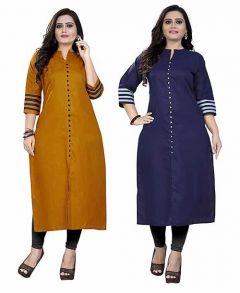 Womens Dark Yellow, Dark Blue Colour Cotton Fabric A-Line Printed Kurti (Combo of 2) (Color-Multi-Color)
