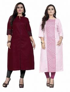 Dark Maroon, Light Pink Colour Cotton A-Line Printed Kurti For Womens (Combo of 2) (Color-Multi-Color)