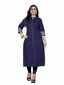 Womens Pure Cotton Fabric Ankle Length Printed 3|4 Sleeve Straight Kurta (Color-Blue)
