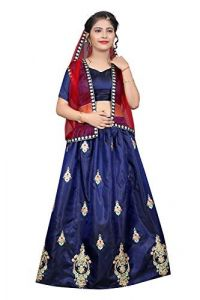 Taffeta Satin Fabric, Embroidery Work, Semi Stitched Lehenga Choli with Dupatta for Girl (Color-Light Blue)