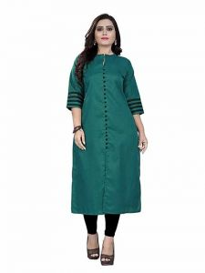 Womens Pure Cotton Fabric Ankle Length Printed 3|4 Sleeve Straight Kurta (Color-Green)