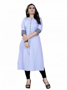 Womens Pure Cotton Fabric Ankle Length Printed 3|4 Sleeve Straight Kurta (Color-White)