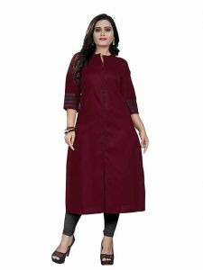 Womens Pure Cotton Fabric Ankle Length Printed 3 4 Sleeve Straight Kurta (Color-Red)