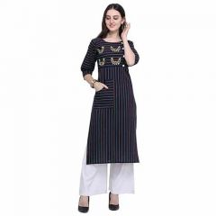 Pure Cotton Fabric Straight Kurti with Palazzo 3|4 Sleeve Kurti and Palazzo Set for Women (Color-Blue)