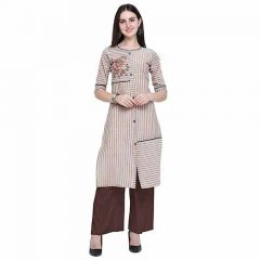 Pure Cotton Fabric Straight Kurti with Palazzo 3|4 Sleeve Kurti and Palazzo Set for Women (Color-Brown)