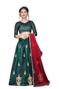 Taffeta Satin Fabric, Embroidery Work, Semi Stitched Lehenga Choli with Dupatta for Girl (Color-Light Green)