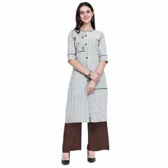 Pure Cotton Fabric Straight Kurti with Palazzo 3|4 Sleeve Kurti and Palazzo Set for Women (Color-Multi-Color)