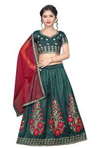 Taffeta Satin Fabric, Embroidery Work, Semi Stitched Lehenga Choli with Dupatta for Girl (Color-Sea Green)