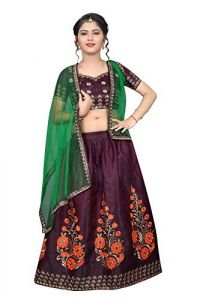 Taffeta Satin Fabric, Embroidery Work, Semi Stitched Lehenga Choli with Dupatta for Girl (Color-Dark Purple)