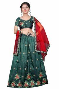 Indian Ethnic Wear Embroidery Work, Tafetta Satin Fabric, Semi Stitched Lehenga Choli for Girl (Color-Green)