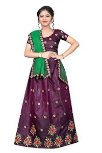 Ethnic Wear Embroidery Work, Tafetta Satin Fabric, Semi Stitched Lehenga Choli for Girl (Color-Purple)