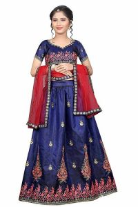 Embroidery Work, Tafetta Satin Fabric, Semi Stitched Indian Ethnic Wear Lehenga Choli for Girl (Color-Aqua Blue)