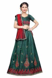 Embroidery Work, Tafetta Satin Fabric, Semi Stitched Indian Ethnic Wear Lehenga Choli for Girl (Color-Light Green)