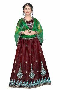Semi Stitched, Embroidery Work, Tafetta Satin Fabric, Indian Ethnic Wear Lehenga Choli for Girl (Color-Dark Maroon)