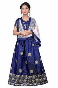 Semi Stitched, Embroidery Work, Tafetta Satin Fabric, Indian Ethnic Wear Lehenga Choli for Girl (Color-Light Blue)