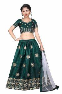 Semi Stitched, Embroidery Work, Tafetta Satin Fabric, Indian Ethnic Wear Lehenga Choli for Girl (Color-Dark Green)