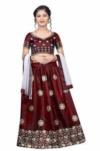 Satin Fabric, Semi Stitched, Embroidery Work, Indian Ethnic Wear Lehenga Choli for Girl (Color-Dark Maroon)