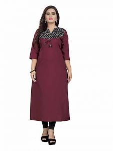 Formal Layered & Tiered Straight Kurti for Women With Latest Printed Design & Classy Looks(Color-Maroon)