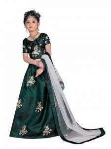 Lehenga Choli, Satin Fabric, Embroidery Work, Semi Stitched Lehenga with Unstitched Blouse for Girl (Color-Light Green)