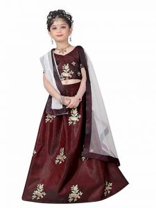 Lehenga Choli, Satin Fabric, Embroidery Work, Semi Stitched Lehenga with Unstitched Blouse for Girl (Color-Dark Green)