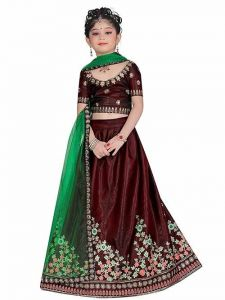 Lehenga Choli, Satin Fabric, Embroidery Work, Semi Stitched Lehenga with Unstitched Blouse for Girl (Color-Green)