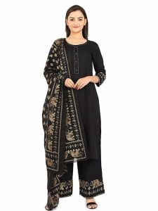 Buttoned Round Neck 3 4 Sleeves Rayon Full Stitched Foil Printed Kurta with Palazzo & Dupatta For Womens (Color-Black)