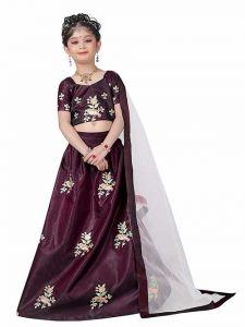 Lehenga Choli, Satin Fabric, Embroidery Work, Semi Stitched Lehenga with Unstitched Blouse for Girl (Color-Black)