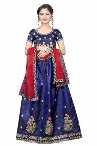 Taffeta Satin Fabric, Embroidery Work, Semi Stitched Lehenga Choli with Dupatta for Girl (Color-Blue)