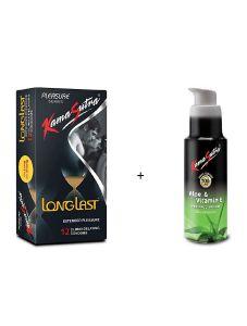 KamaSutra Combo of Extended Pleasure 12 Condoms & Aloe Vera Vitamin E Lubricants (50ml) | (Pack of 2)