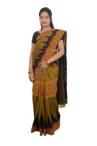 Kargil Middle Check Women's Saree Without blouse piece - Mustard (golden glow)