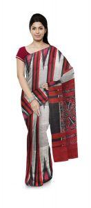Kargil Pati Plain Women's Saree Without blouse piece - Multi-Color