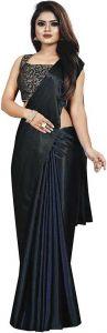 Plain Pattern Bollywood Satin Blend Fabric Saree
